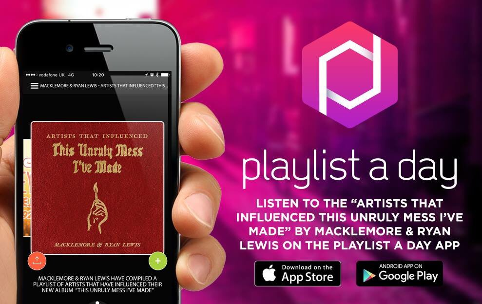 Don't miss this amazing @macklemore playlist today. iOS https://t.co/mP9lO1ny0k or Android https://t.co/qxGtZdJ7jy https://t.co/8QdujnIFee
