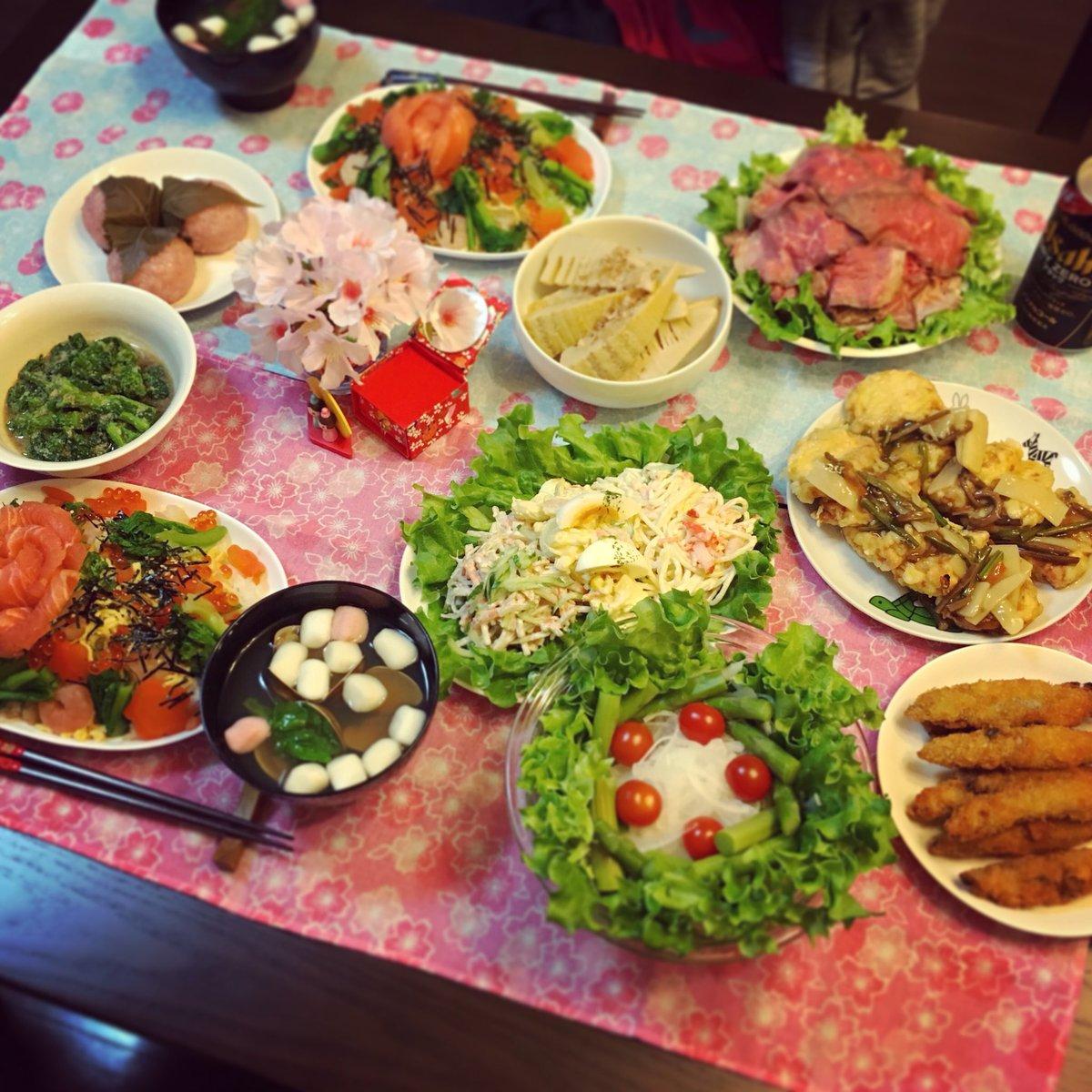 ひなまつりメニュー頑張った🎎 ちらし寿司にはまぐりのお吸い物久々!菜の花新玉めっちゃうまい、春の味だ〜