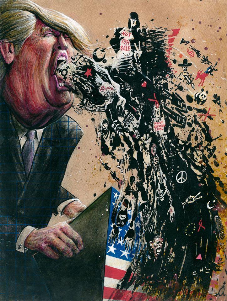 From #Belgium #cartoon artist GAL. Brilliant as ever. #Election2016 #GOP #Trump @BernieSanders @HillaryClinton https://t.co/HU3C32vbY5