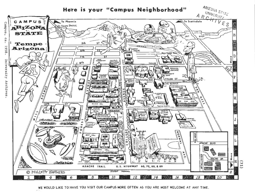 Campus Map Asu.Asu Now On Twitter Tbt To Asu Tempe Campus Map From 1958 Flash