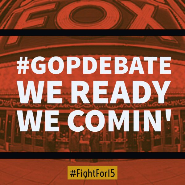 The #GOPDebate. Tonight. We ready. We comin' - follow @fightfor15 @Detroit_15 #FightFor15 https://t.co/fNSH7Up3iF