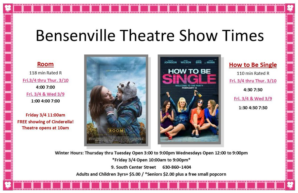 Bensenville il on twitter starting friday 34 the bensenville bensenville il on twitter starting friday 34 the bensenville theater will be showing room how to be single httpstiphgrkjpxq ccuart Choice Image
