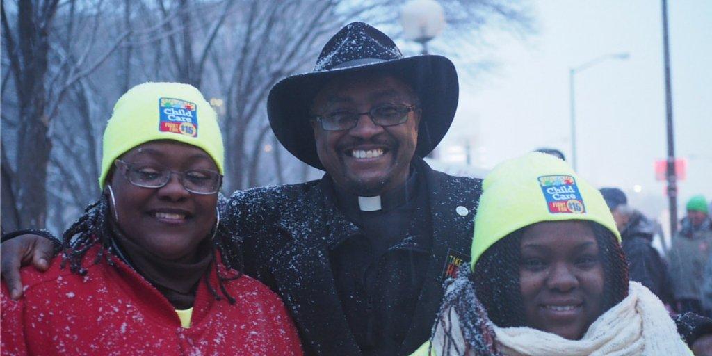 Childcare teachers Tasha & Althea with Rev. Sebastian speaking up for #ChildCareForAll & #FightFor15 in Detroit. https://t.co/ROQLBmlDBT