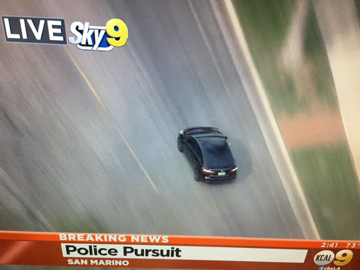 Crazy car chase through #SanMarino We're live on #KCAL9 now