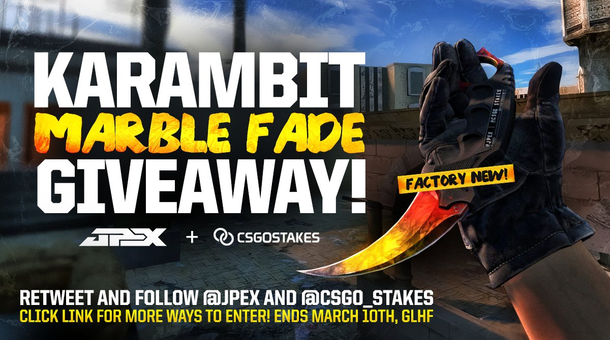 GIVEAWAY: FN KARAMBIT MARBLE FADE!   RT & FOLLOW @JPEX & @CSGO_Stakes   More ways to Enter: https://t.co/sUloA7nHRT https://t.co/jcgGbS9S3T