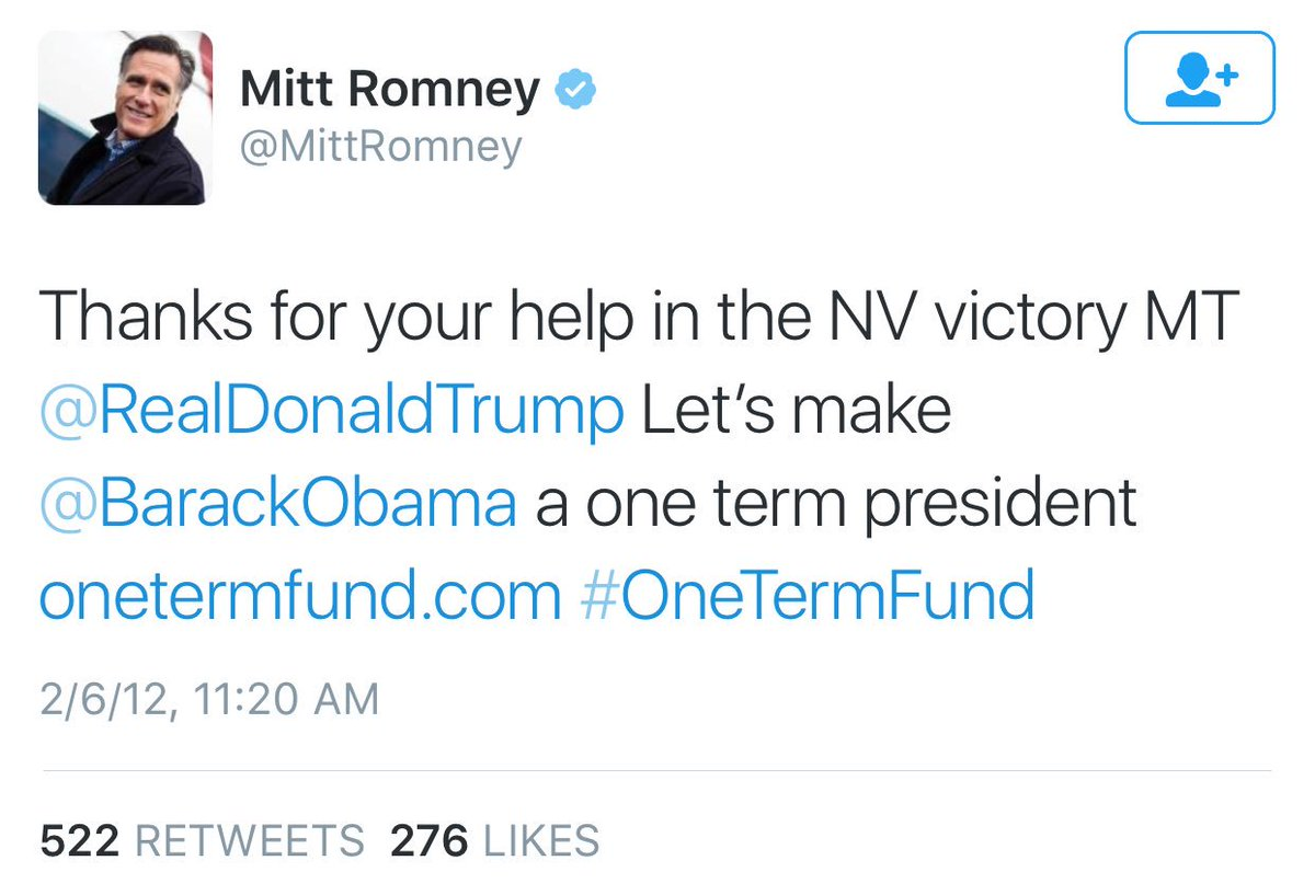 Willard Mitt Romney thanked Trump on Twitter in 2012