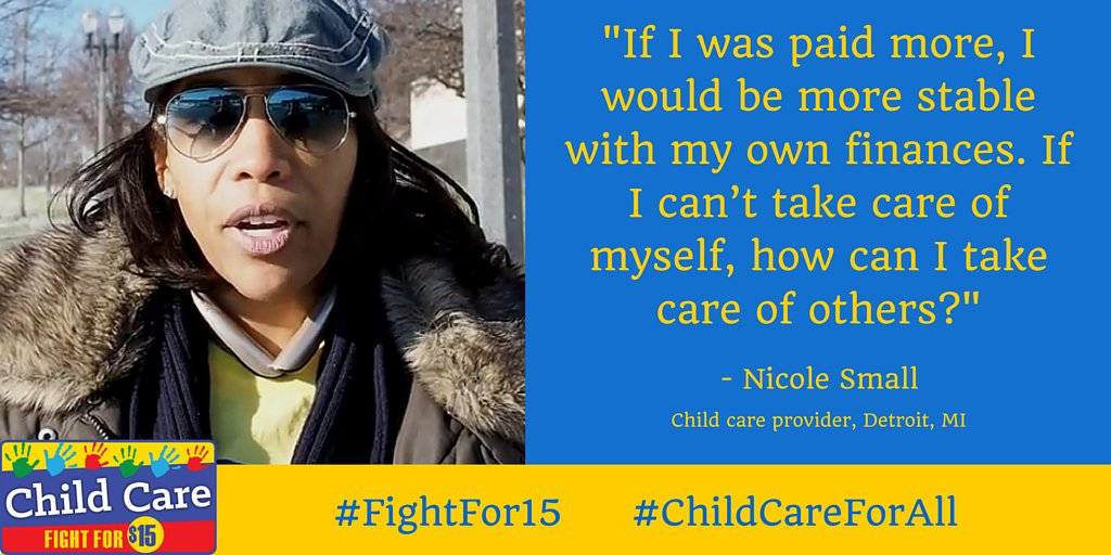 Child care provider Nicole Small is standing up at the #GOPDebate for #ChildCareForAll & the #FightFor15 https://t.co/xDdpG2zXiY