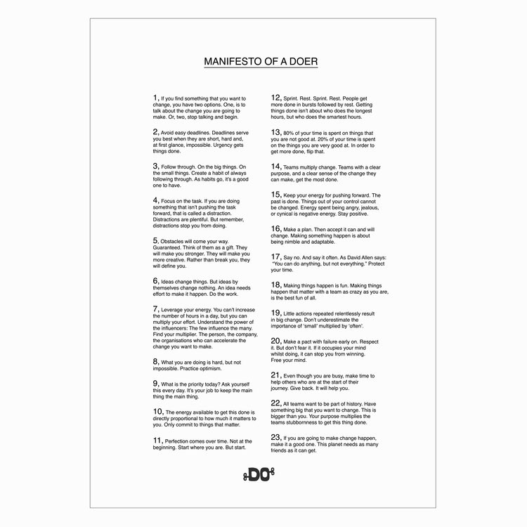 The-manifesto-of-a-doer Not only will it remind you to dare bravely but you'll walk tall and smile HT @DoLectures https://t.co/Xt5pREuVBs