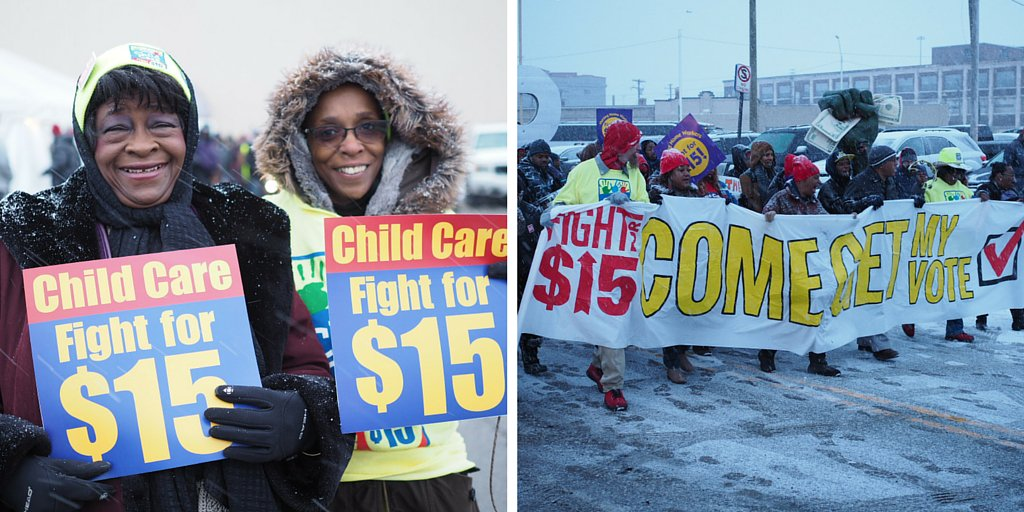 Child care in the house at the #GOPDebate in Detroit! w/ @Detroit_15 #FightFor15 #ChildCareForAll https://t.co/maKoKzqCjG