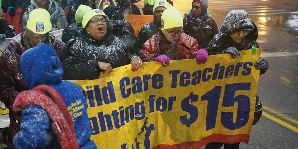 Childcare workers are making our voices heard w/ @FF15HomeCare @Detroit_15 @fightfor15 #GOPDebate #FightFor15 https://t.co/FlhhnGmYMc
