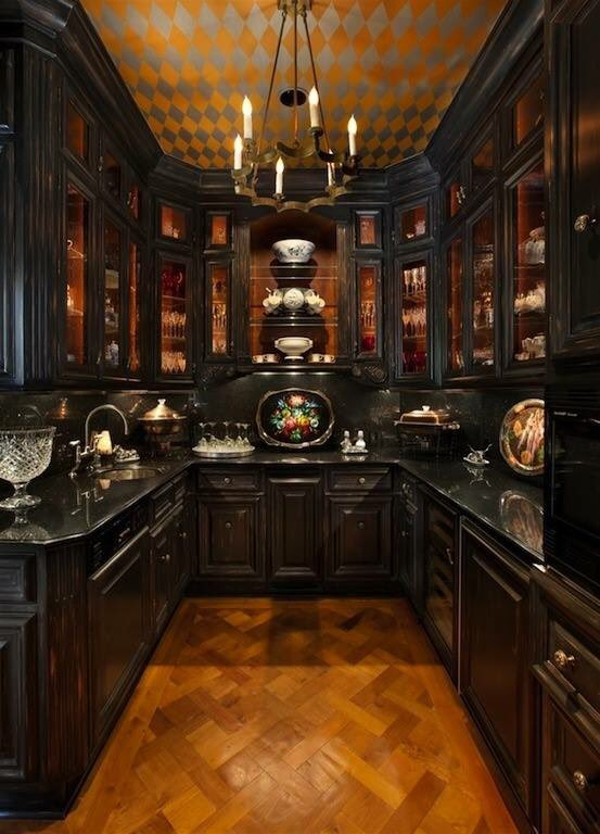 #Design Awesome of the Day: Black Wooden #Gothic Inspired Kitchen Pantry via @HorrificFinds #SamaDesign