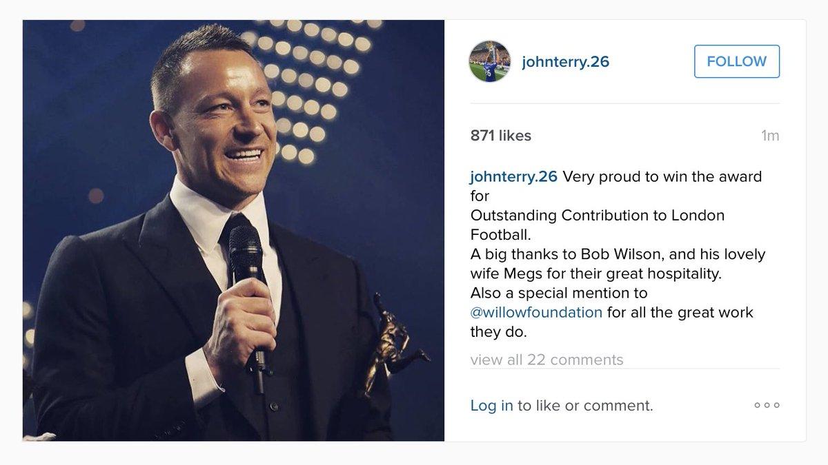 John Terry on Instagram this morning #LFA16 https://t.co/v5DeBoCFYa