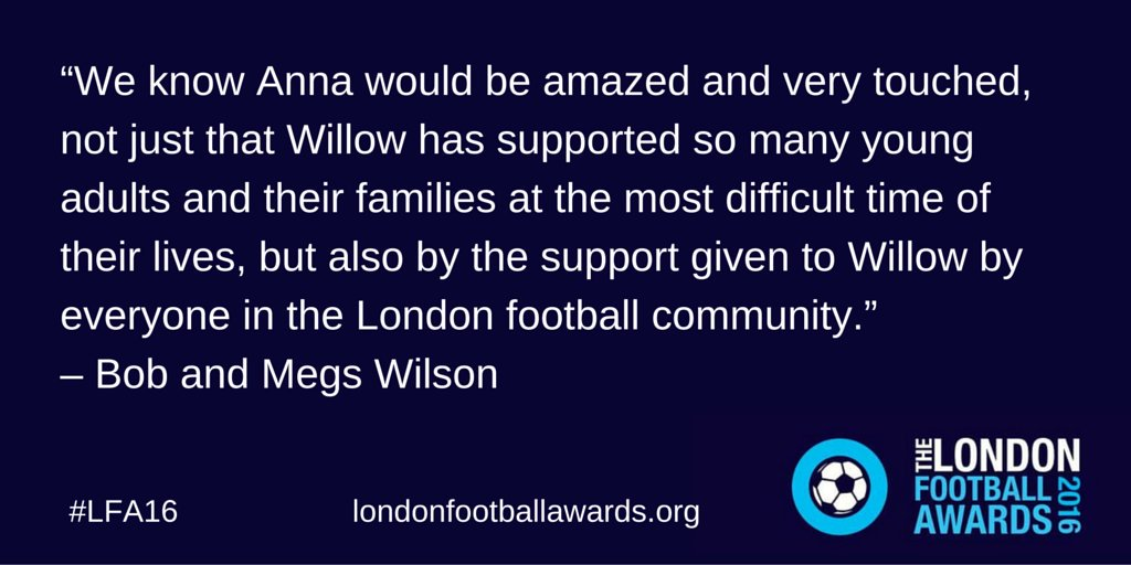After a fantastic evening at #LFA16 @BobWilsonBWSC & @Meg5W reflect on the legacy of one very special lady... https://t.co/eJxBV7Nm5h