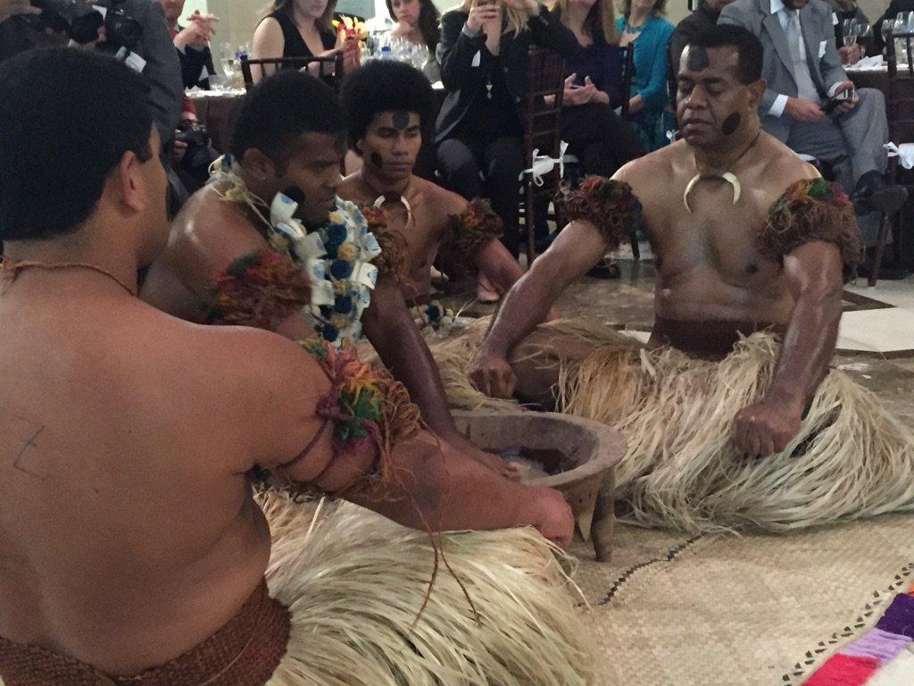 Kava ceremony @flySFO last night to celebrate new @fijiairways flights to #Fiji. @fijitourism. https://t.co/uUwIRhaGse