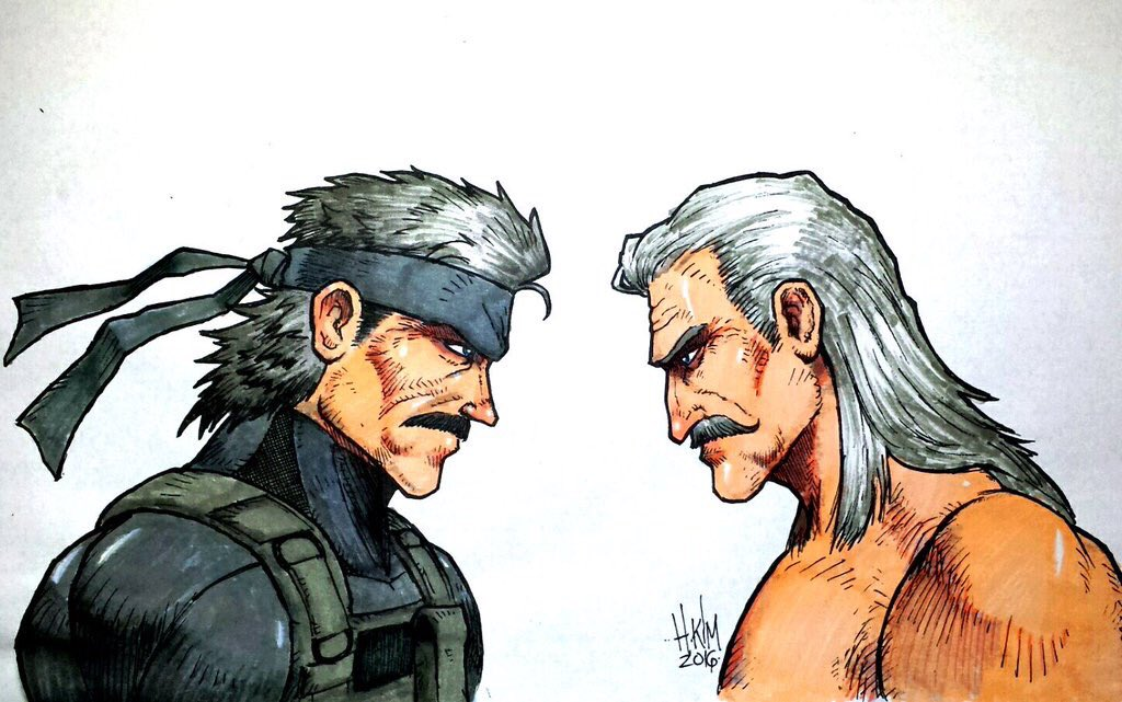 Metal Gear Greatness!  By @HEOH_KIM   #mgs4 #OldSnake & #LiquidOcelot drawing. @Kojima_Hideo @metalgear_en @Konami