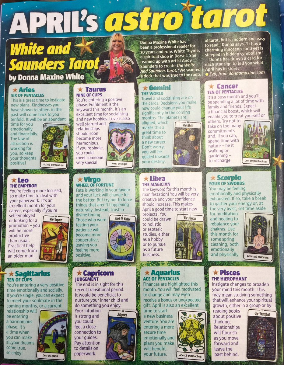 Donna Maxine On Twitter See The White Saunders Tarot Cards I Designed In Take A Breaks Fate Fortune Magazine This Month April Edition Https T Co Hfutf80nxh