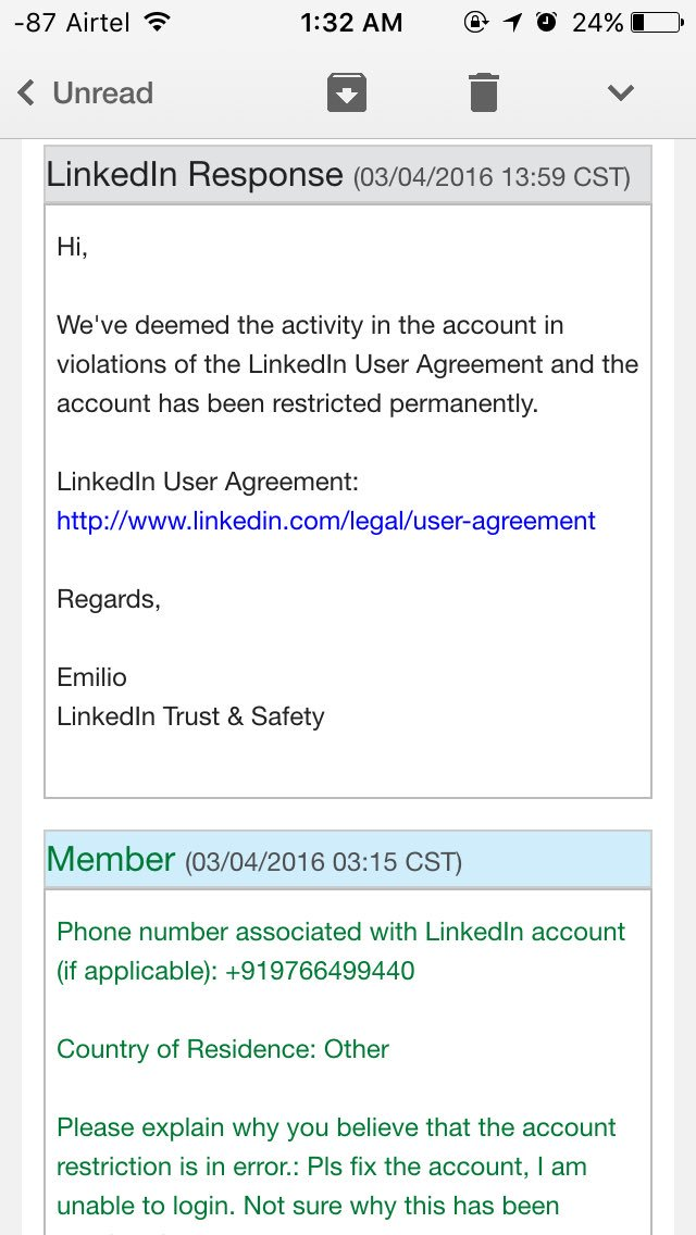 Tarun Davda On Twitter Wtf Linkedin Just Permanently Restricted