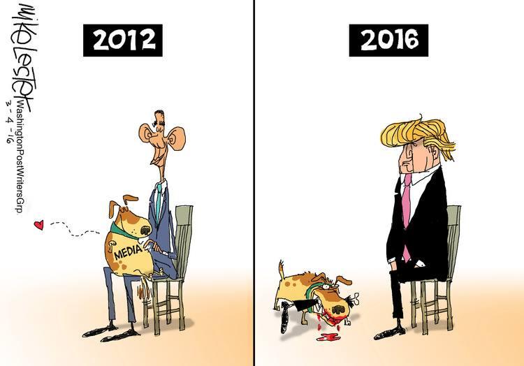 Obama versus #Trump in mediaperspectief. #cartoon https://t.co/pXWGvtVEay