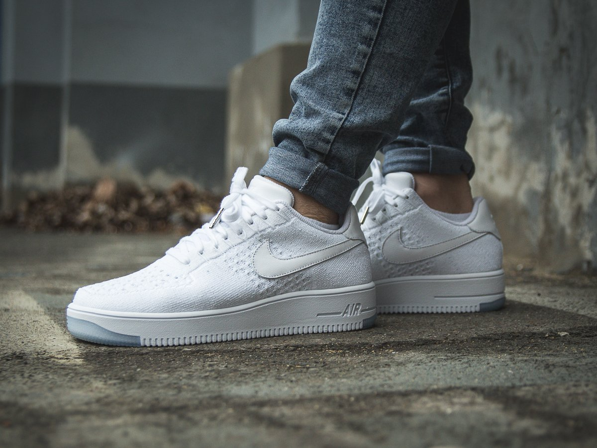 newest f10dc 67eb8 Nike Air Force 1 Flyknit Low White Ice