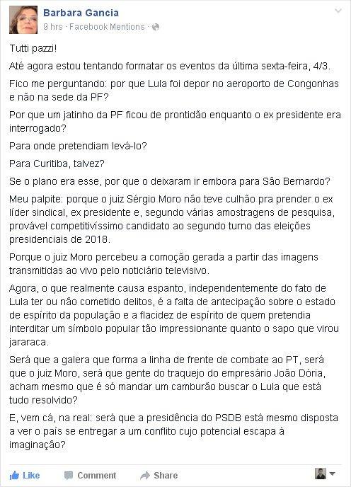 """""""Será q Moro e outros acham q é só mandar um camburão buscar o Lula q tá tudo resolvido?"""" @barbaragancia impecável! https://t.co/0ekJdcVAWI"""