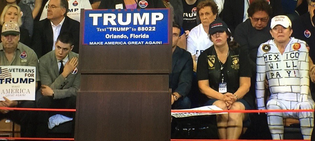 Someone Showed Up To A Trump Rally Dressed As The Wall He's Proposing To Build