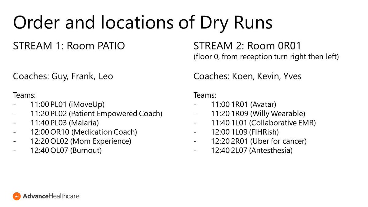 Order and location of dry runs for today's presentation: don't be late for your turn! #mhealthbe #mhealth #hackathon https://t.co/IrtWegvYK3