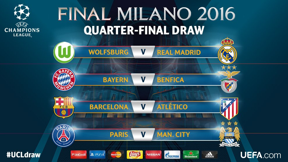 The official result of the #UCLdraw. https://t.co/lIBg5LNRaW