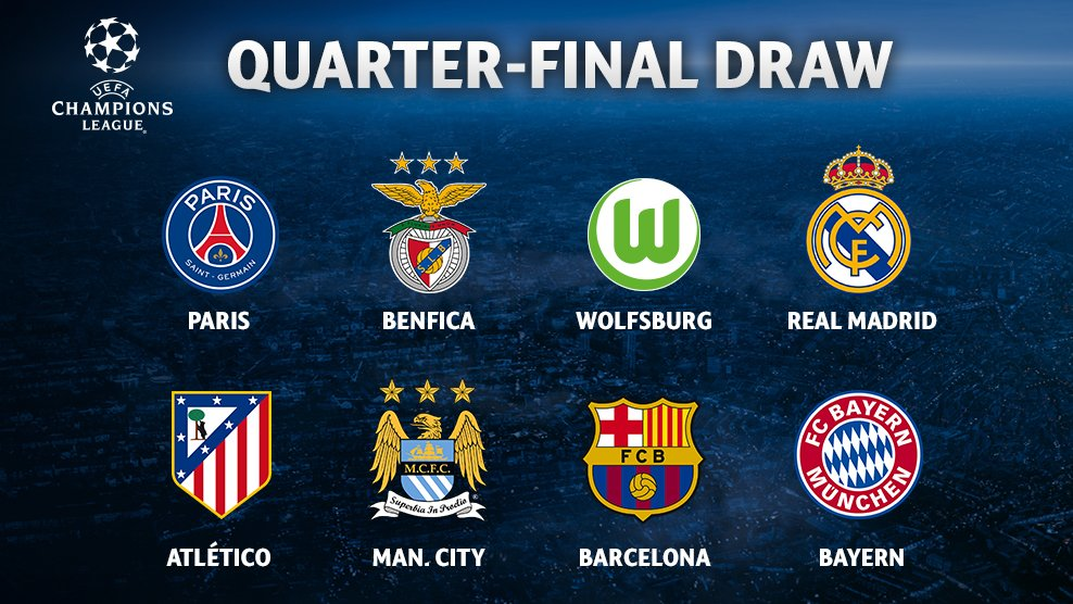 Champions League Quarter Final Draw Psg Face Manchester City As