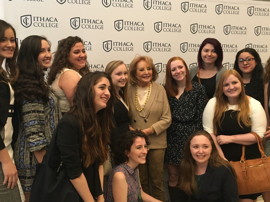 Barbara Walters honored w/ the Jessica Savitch Award and the Ithaca College aspiring journalists. https://t.co/l4ZBE5XYCE