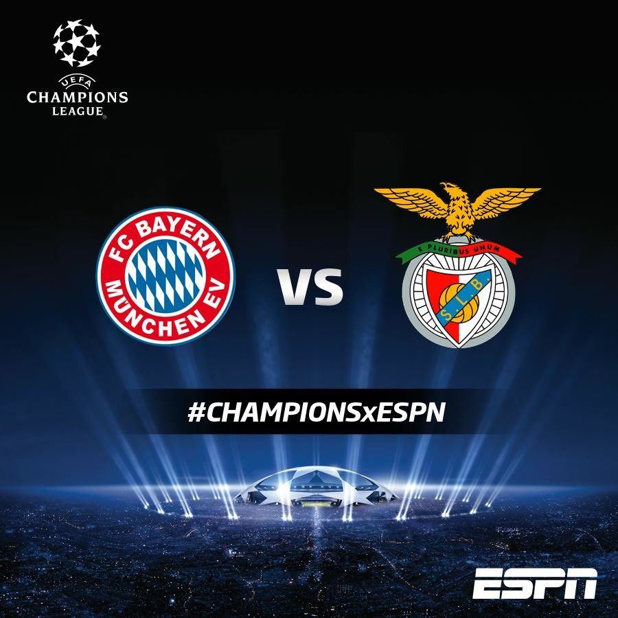 BAYERN MONACO BENFICA Streaming gratis Rojadirecta, come vederla in Diretta Calcio Live TV (Champions League)