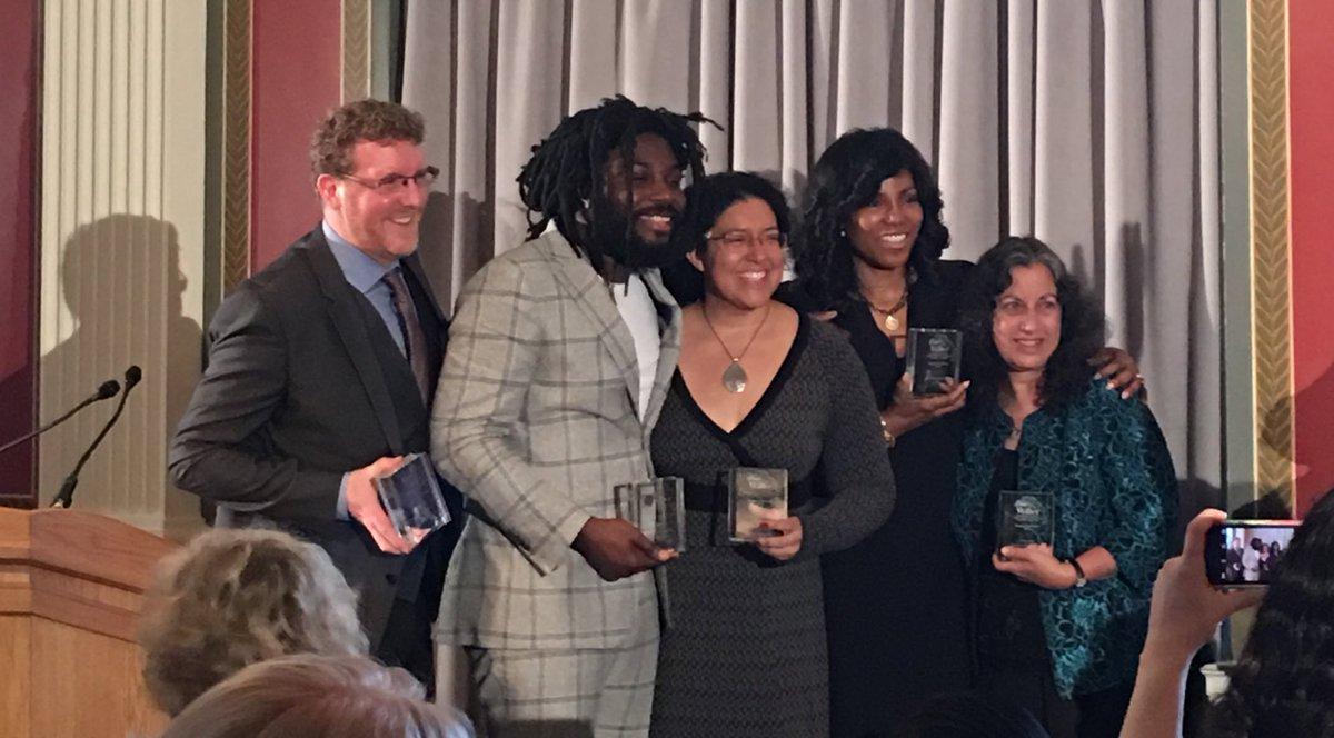 The first winners and honorees of #theWalter  @JasonReynolds83 @KielyBrendan @ilyasahShabazz @KeklaMagoon https://t.co/1Z7jXbPq67