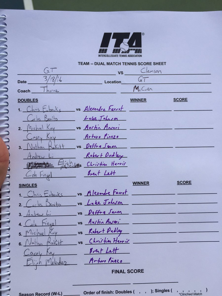 "Gt Men'S Tennis On Twitter: ""Here'S The Lineup Sheet For Tonight'S"