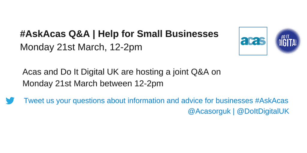 1 hour to our #AskAcas Q&A with @DoItDigital. Small businesses- tweet your work related questions #100DaysofDigital https://t.co/90qbOxL9Vf