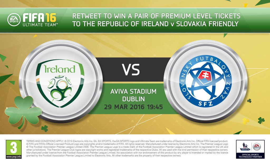 Celebrate #FUT St Patrick's Day Tournament & win a pair of tickets to ROI v Slovakia! RT & follow to enter #COYBIG https://t.co/qSCalpoBVS