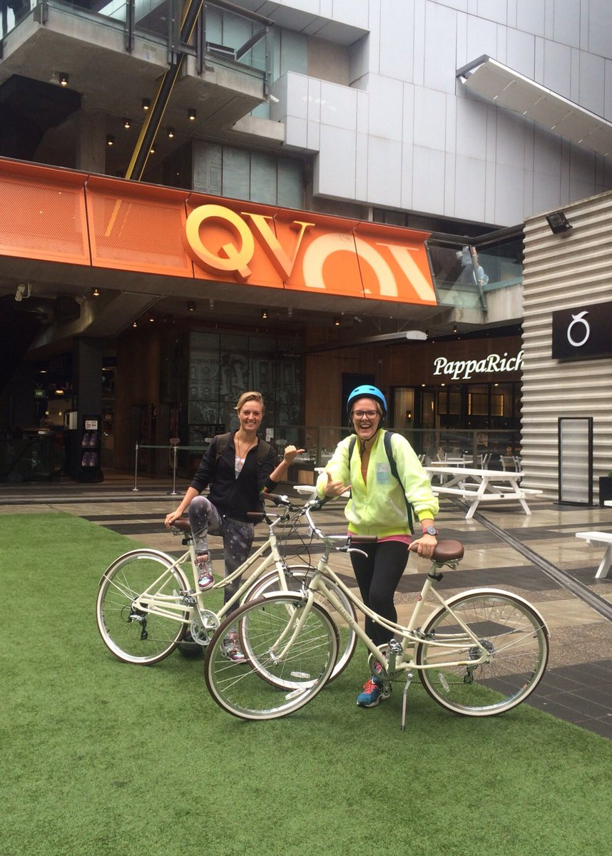 Thank you legends @QVMelbourne @CyclesGalleria and @Fuller_PR! @JustineJMac and myself love our new sexy rides👌🌈❤️🚴🏼 https://t.co/KdEBoX4y8F