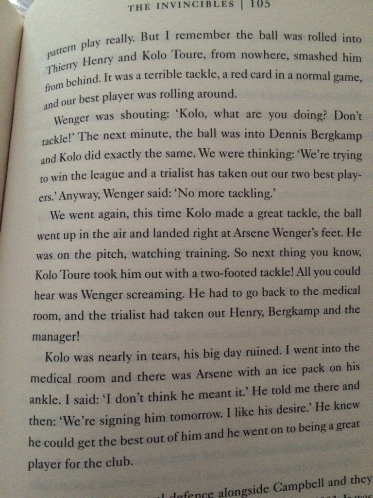 Kolo Toure 35 today. This is my fave Kolo story (re his Arsenal trial) from @johncrossmirror excellent Wenger book https://t.co/1B6DPuGbQM
