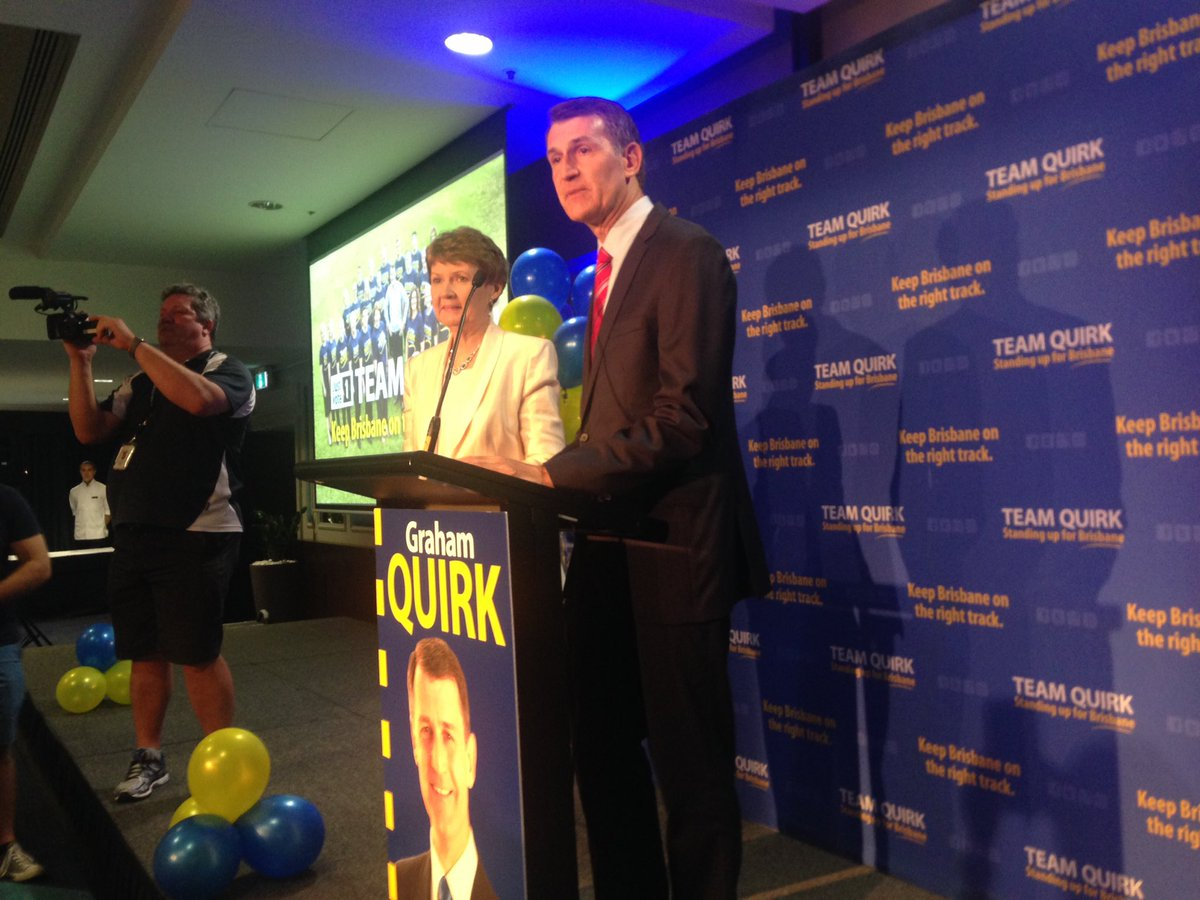 Newly reelected Bris LM Graham Quirk gives his victory speech. @7NewsQueensland LIVE now https://t.co/ckaX9RcD0A