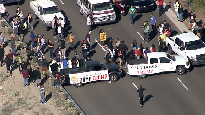#BREAKING: Traffic backed up for miles due to @realdonaldtrump protesters in Fountain Hills https://t.co/wsQoRGGcfI