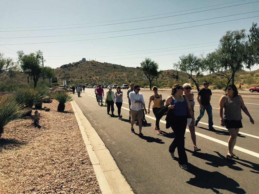 #TrumpRally goers having to hike miles to rally -- #stoptrump protestors blocking way #abc15 https://t.co/4aAqwkLDFb