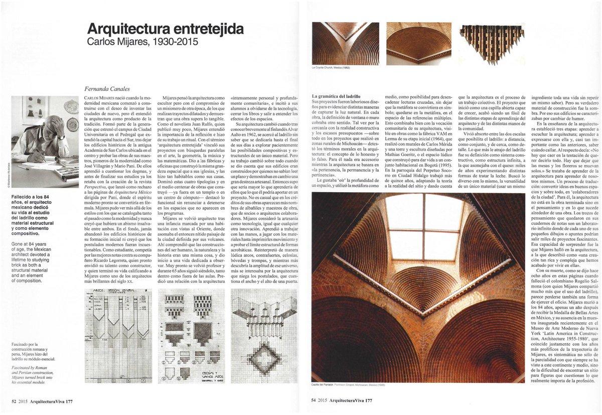 A un año de la muerte de Carlos Mijares, un texto que escribí en @arquitect_viva 177. @MauricioRochaI, @miqadria https://t.co/R87LCqF9pS
