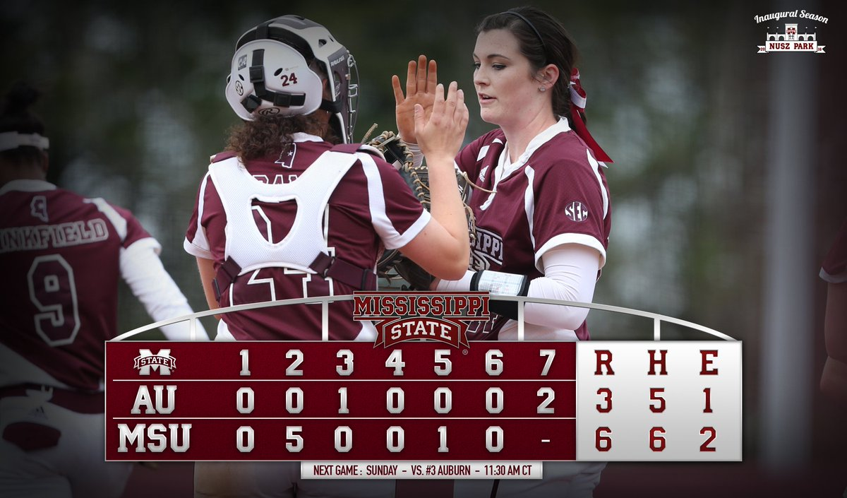 FINAL | Bulldogs beat No. 3 Auburn to even the series. @hollyward14 picks up the complete-game victory.  #HailState https://t.co/X543tOzdE2