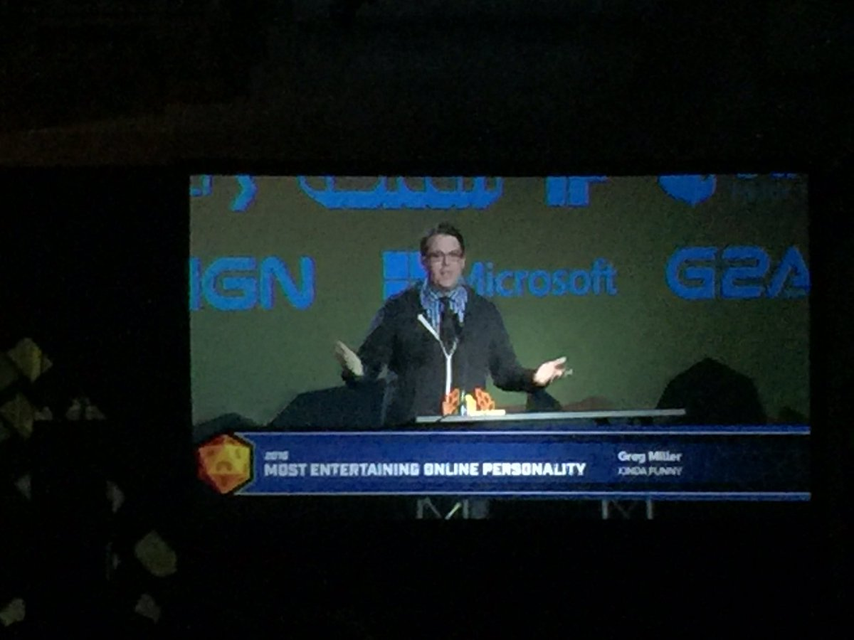 So insane to be at the #SXSWGamingAwards and see our pal @GameOverGreggy take a trophy. We  you Greg! #sxsw<br>http://pic.twitter.com/vEAVPmfS2b