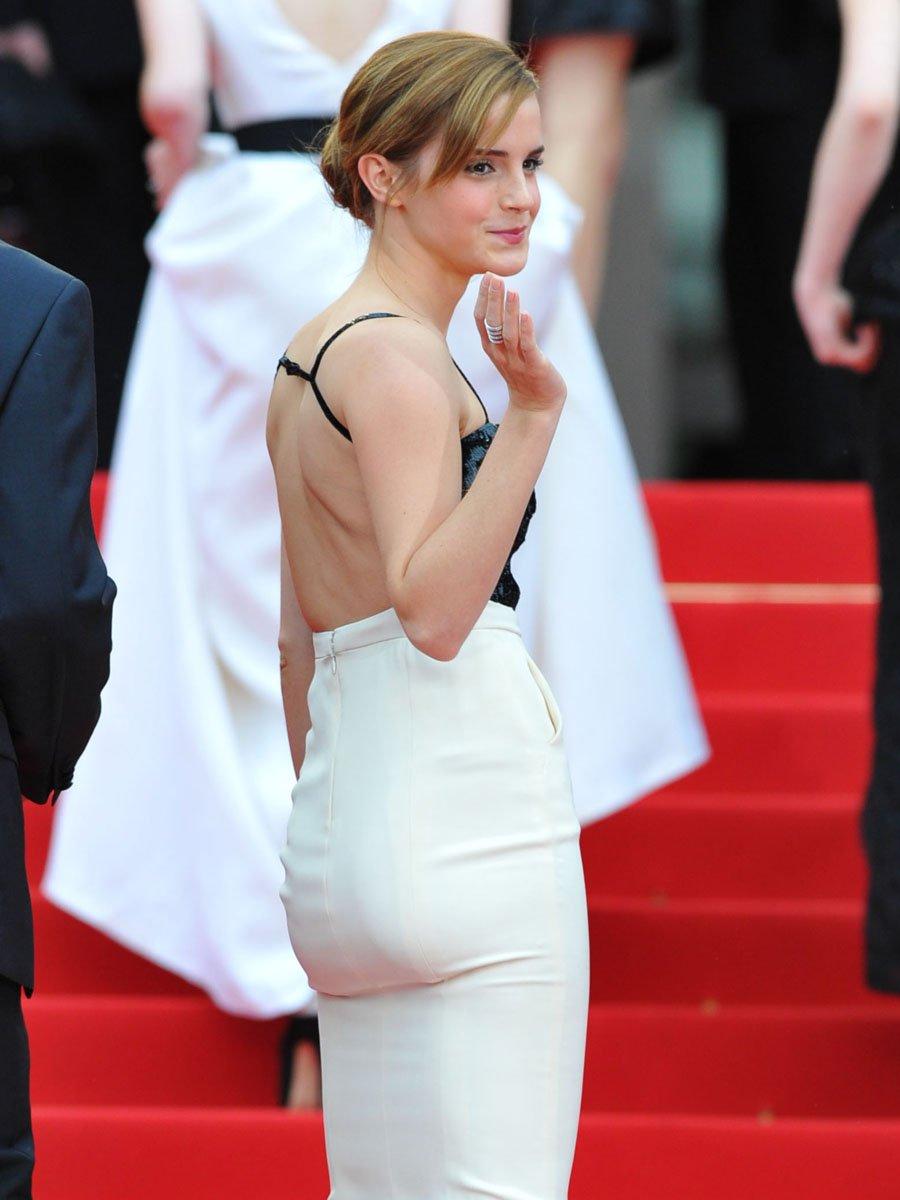 Emma Watson's Butt In Very Dark Violet Pants