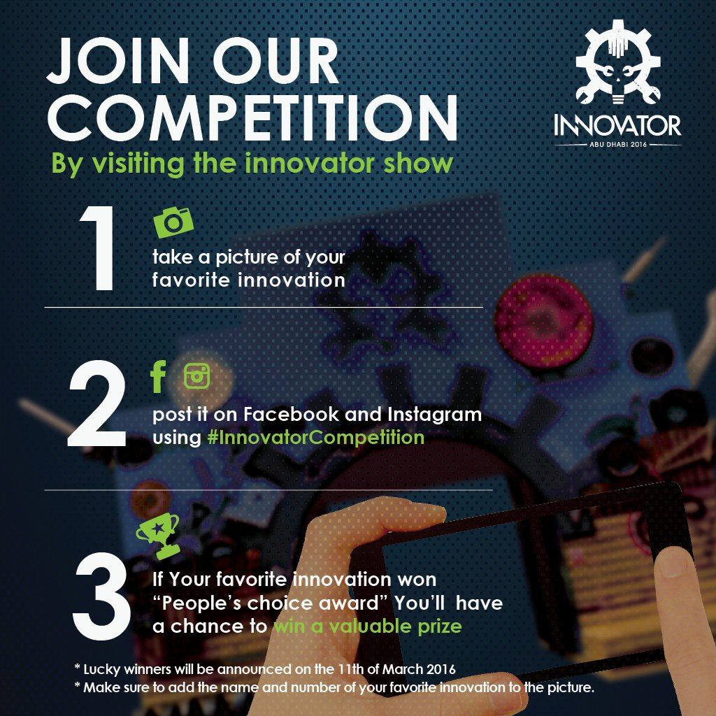 """If you took a pic for the """"People's Choice Award"""" winning innovation, post it with #InnovatorCompetition and win! https://t.co/G7E9NlowjV"""