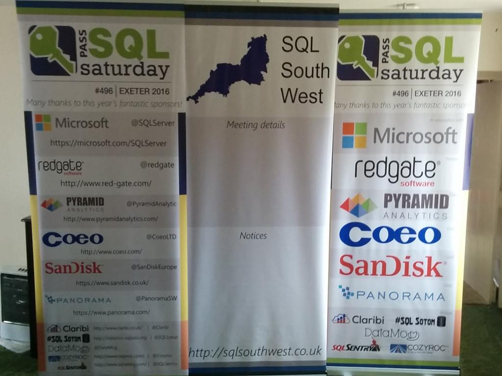 Luckily the contents are OK. These companies make events like #sqlsatexeter possible. Thanks one and all. #sqlpass https://t.co/HXSbVXhdCA