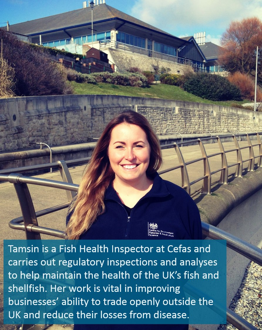 "Fish Health Inspector Tamsin of our ""excellent"" standards FHI team #IWD2016 @DefraGovUK https://t.co/AElXa6qbXQ https://t.co/9d22oH2GU4"