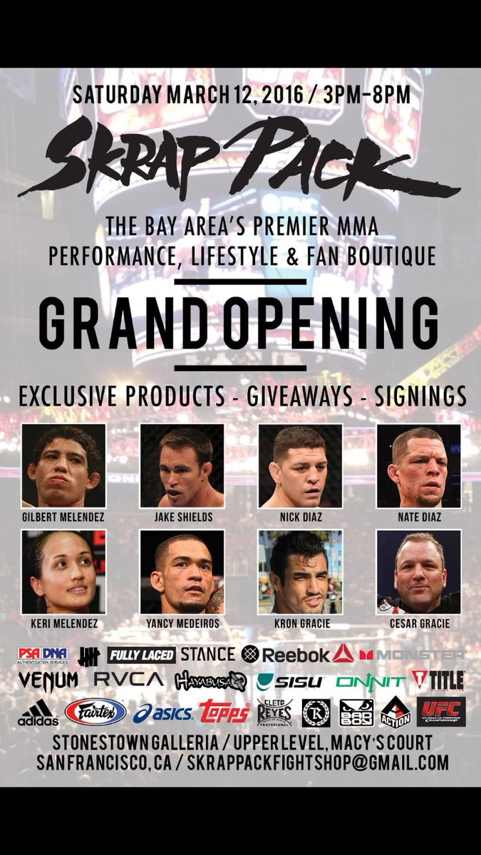 This Sat. grand opening of the #SkrapPackFightShop. Meet the Team, grab sum gear & celebrate @NateDiaz209 victory https://t.co/VReP98XEqA