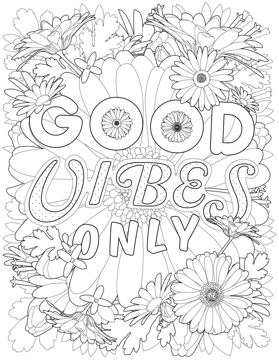 Adult Coloring Pages Good Vibes Only