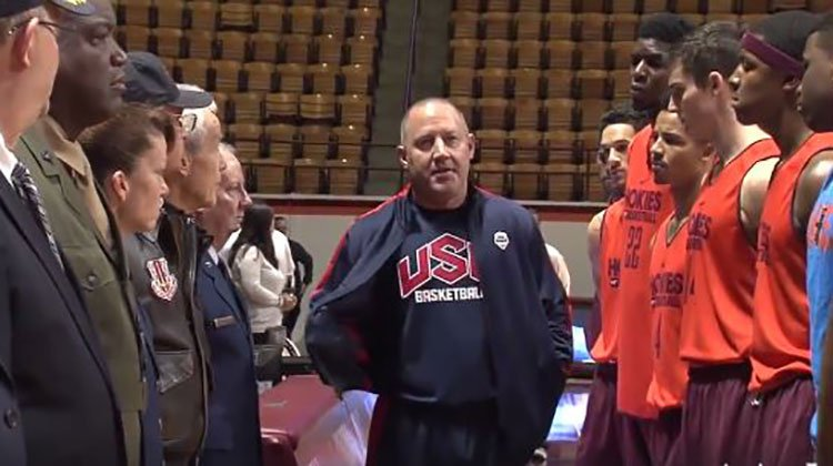 Coach disappointed w/ players' during National Anthem. They met some veterans: https://t.co/ZYB5yM4xMx #respect #USA https://t.co/WNkMfstJFv