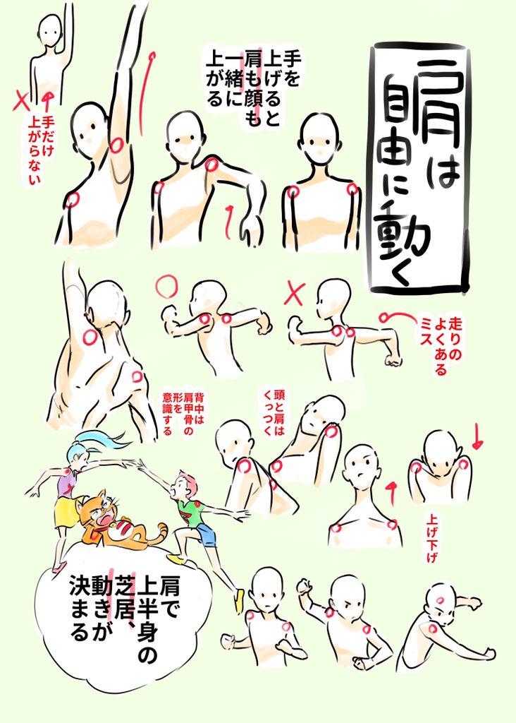 ◎肩は自由に動く・手を上げると肩も顔も一緒に上がる・上半身の動きは肩で決まる・走り手だけ振ることはない。むしろ肩に連動して手が動くくらいに考える・肩の可動域=躍動感・自分の体で肩の動きを確認してみよう pic.twitter.com/zoqfhKfE3s